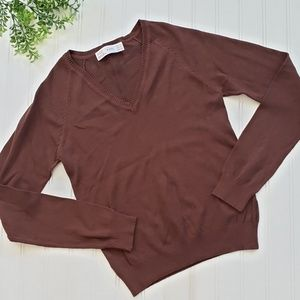 Zara Brown V Neck Sweater size Small